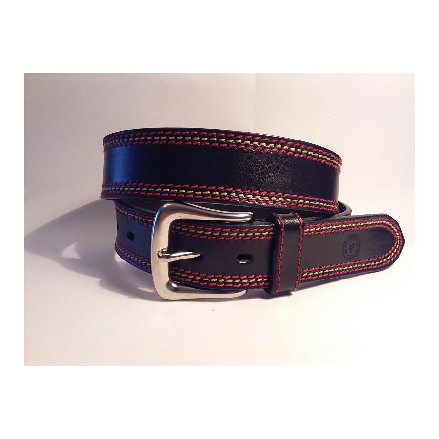 b190b644a2e Cinturón cuero negro pespunte hilo rojo amarillo rojo españa artesanal