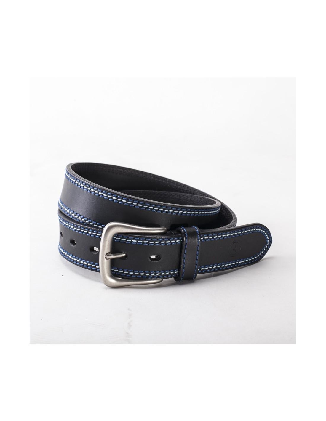 e25e42d6015 Cinturón cuero negro pespunte hilo azul celeste azul artesanal